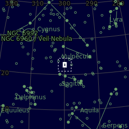 The area of the sky in Vulpecula that is photographed