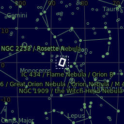 The area of the sky in Orion